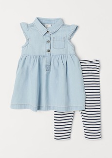 H&M H & M - Denim Dress and Leggings - Blue