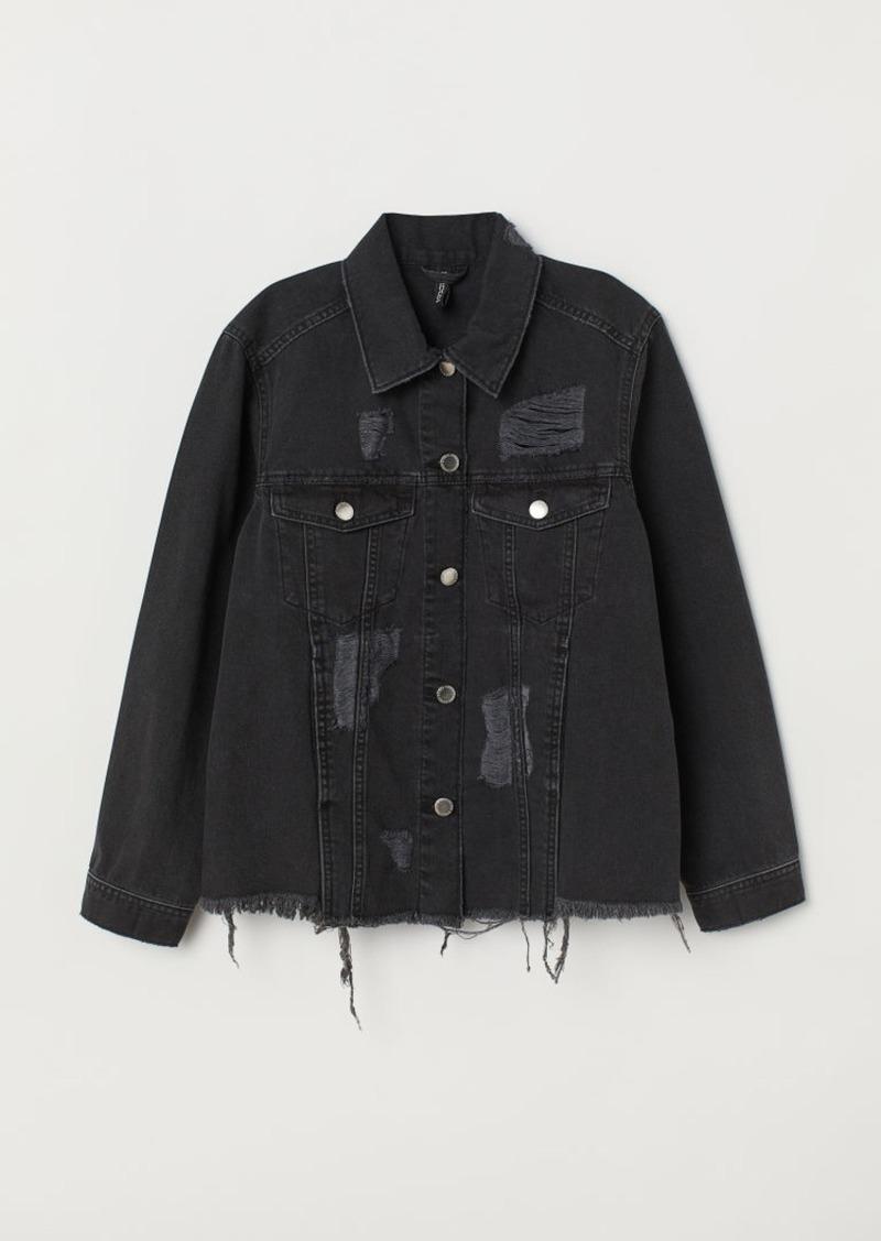 H & M - Denim Jacket Trashed - Black