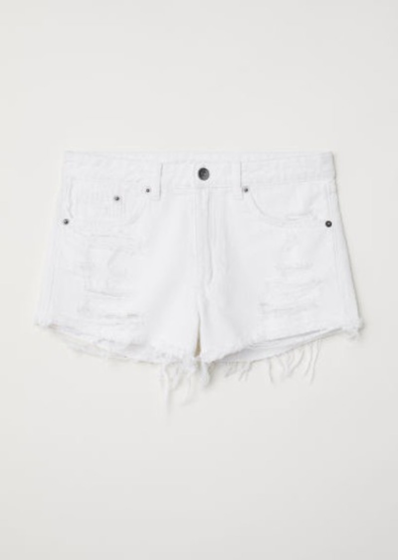 H&M H & M - Denim Shorts Skinny Regular - White