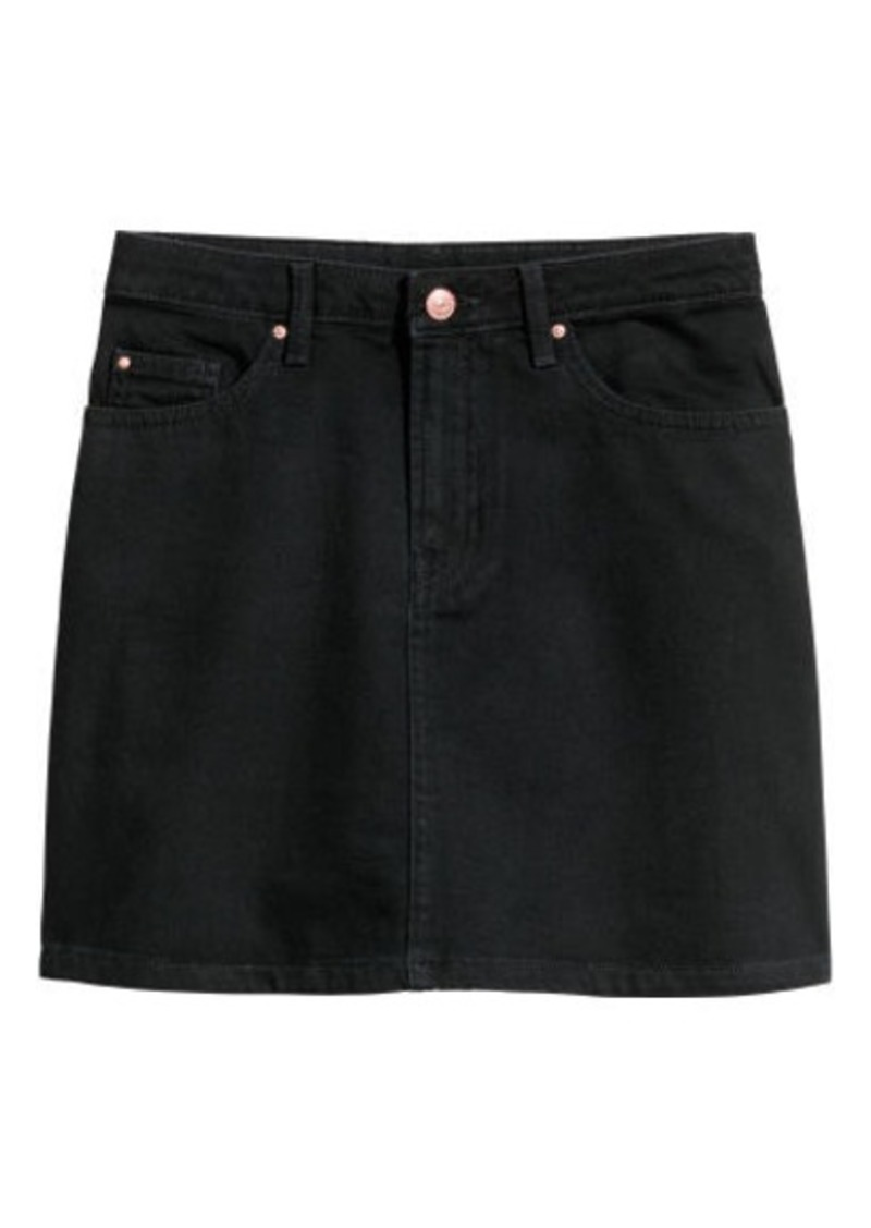 9082c9fbf SALE! H&M H & M - Denim Skirt - Black