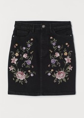 H&M H & M - Denim Skirt with Embroidery - Black