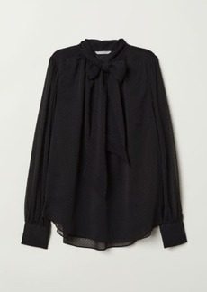 H&M H & M - Dotted Chiffon Blouse - Black