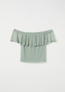 H&M H & M - Dotted Mesh Top - Green