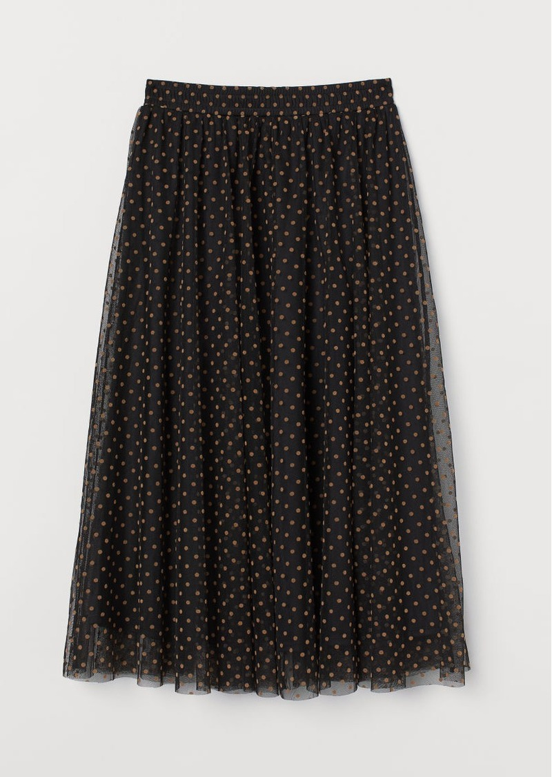 H&M H & M - Dotted Tulle Skirt - Black