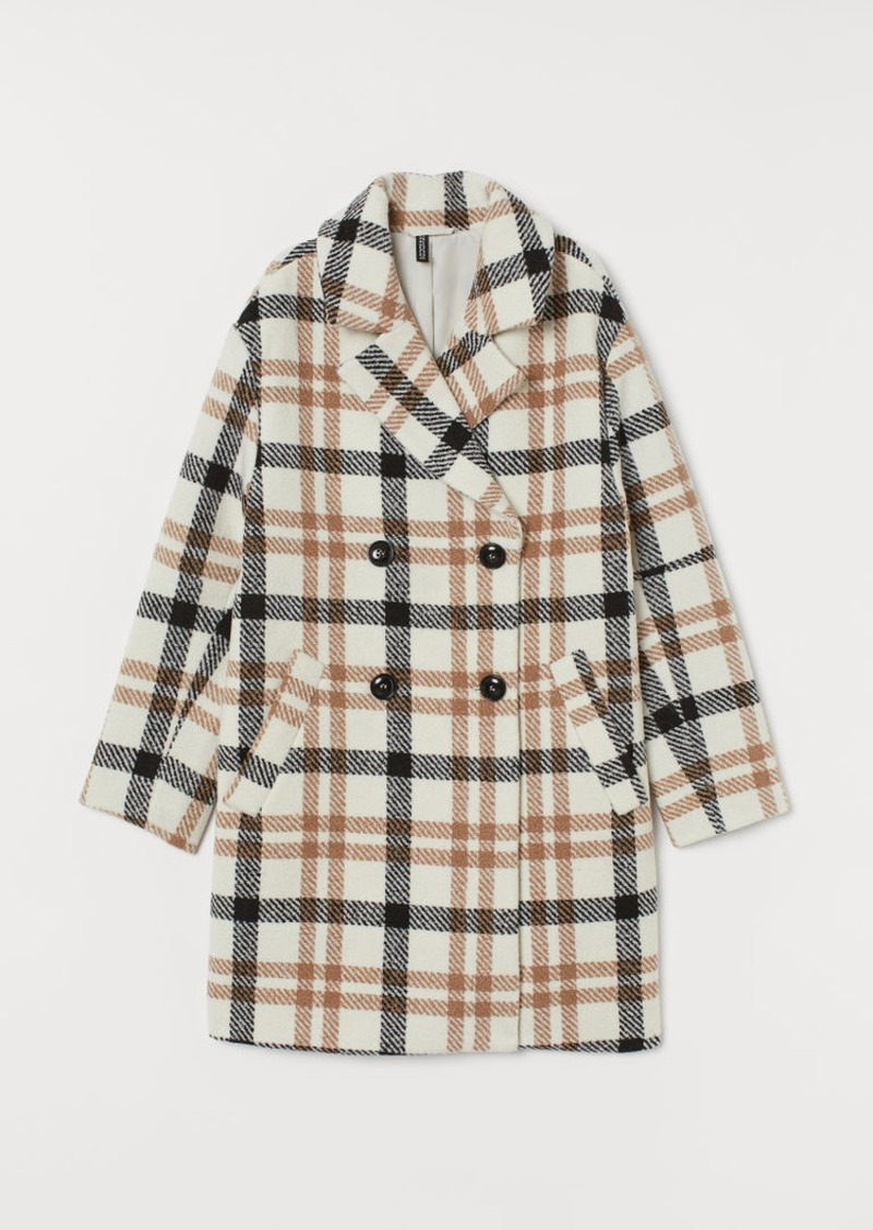 H&M H & M - Double-breasted Coat - White