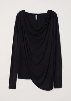 H&M H & M - Draped Hooded Top - Black