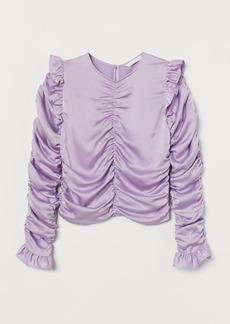 H&M H & M - Draped Satin Blouse - Purple