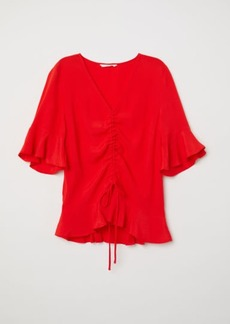 H&M H & M - Drawstring Blouse - Red