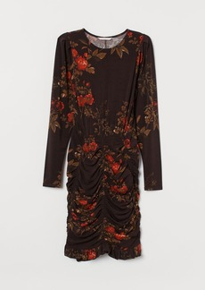 H&M H & M - Dress with Draping - Brown