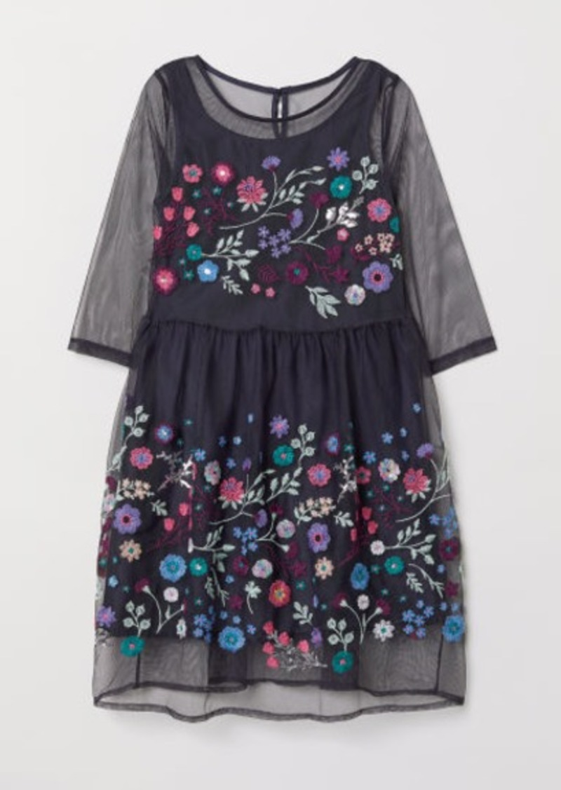 H&M H & M - Dress with Embroidery - Blue