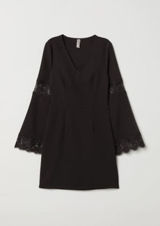 H&M H & M - Dress with Lace - Black