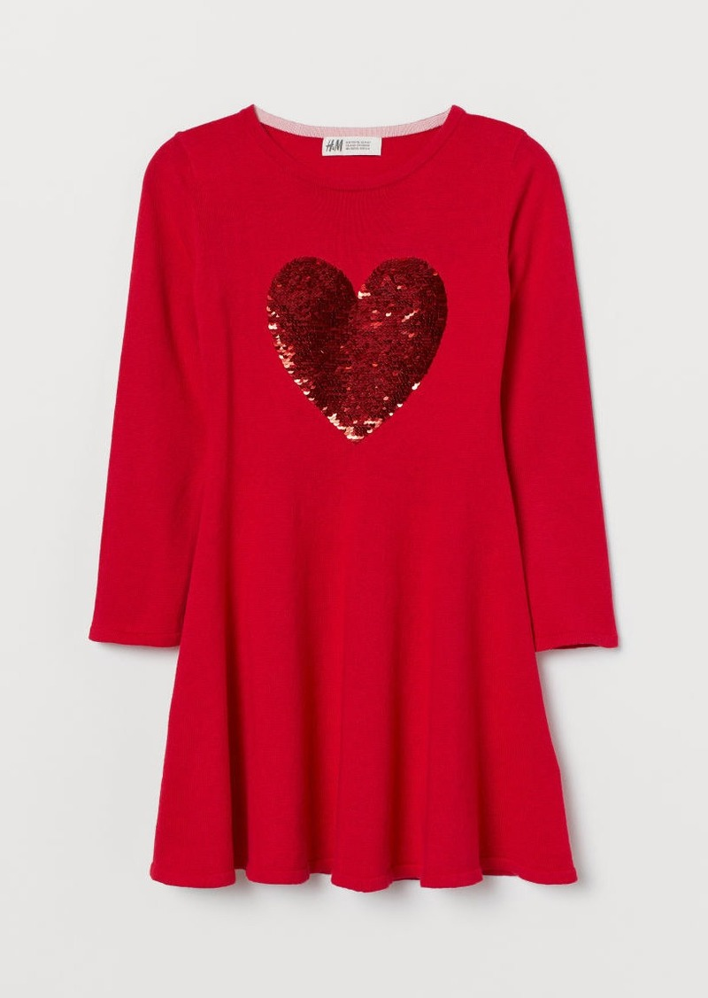 H&M H & M - Dress with Sequined Motif - Red