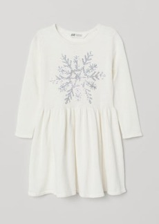 H&M H & M - Dress with Sequined Motif - White