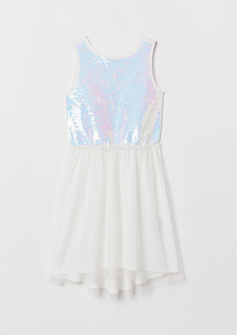 H&M H & M - Dress with Sequins - White