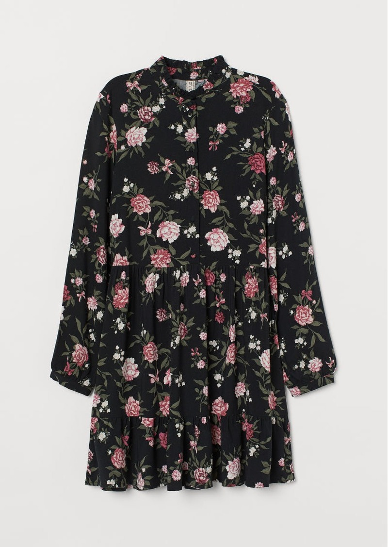 H&M H & M - Dress with Stand-up Collar - Black