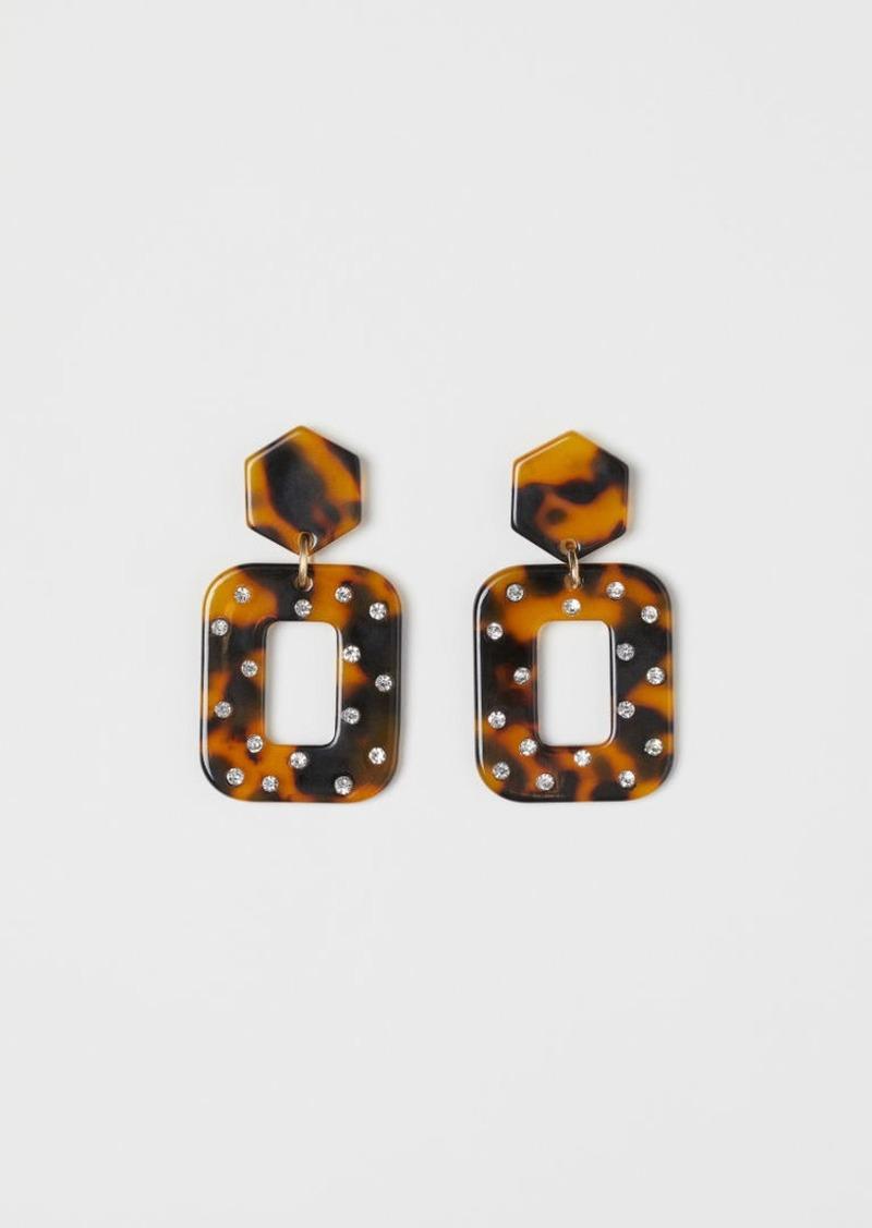 H&M H & M - Earrings with Rhinestones - Orange