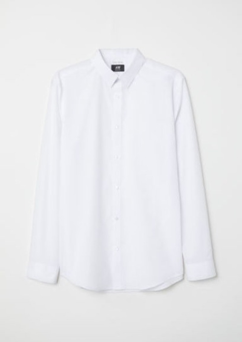 H&M H & M - Easy-iron Shirt Slim fit - White