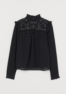 H&M H & M - Embroidered Blouse - Black