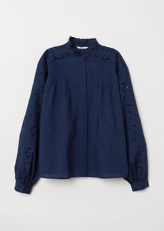 H&M H & M - Embroidered Blouse - Blue