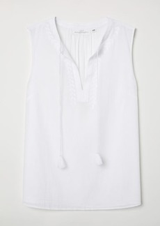 H&M H & M - Embroidered Blouse - White