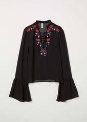 H&M H & M - Embroidered Chiffon Blouse - Black - Women