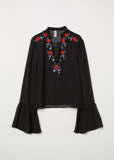 H&M H & M - Embroidered Chiffon Blouse - Black