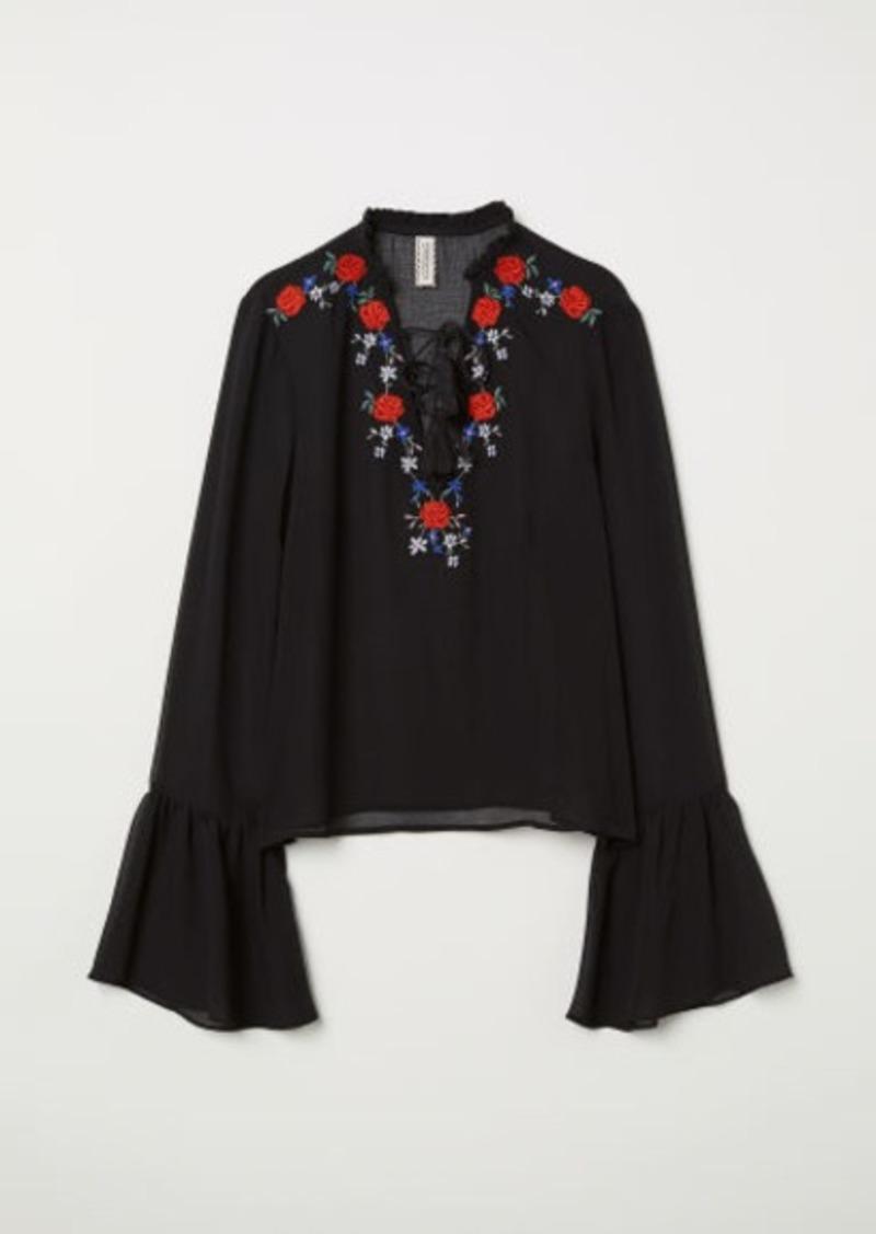 H&M H & M - Embroidered Chiffon Blouse - Black