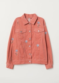 H&M H & M - Embroidered Corduroy Jacket - Pink