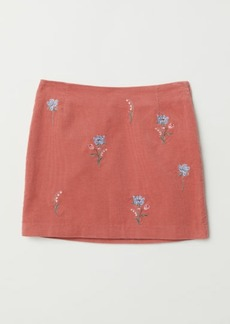H&M H & M - Embroidered Corduroy Skirt - Pink