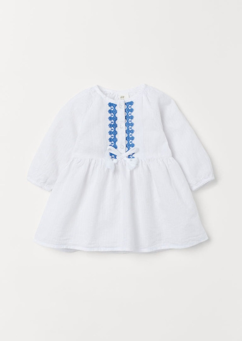 H&M H & M - Embroidered Cotton Dress - White