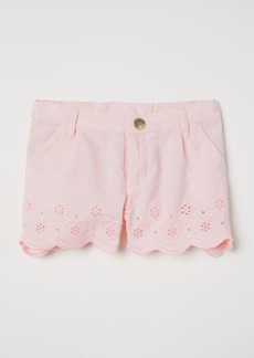 H&M H & M - Embroidered Cotton Shorts - Pink