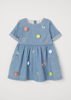 H&M H & M - Embroidered Denim Dress - Blue