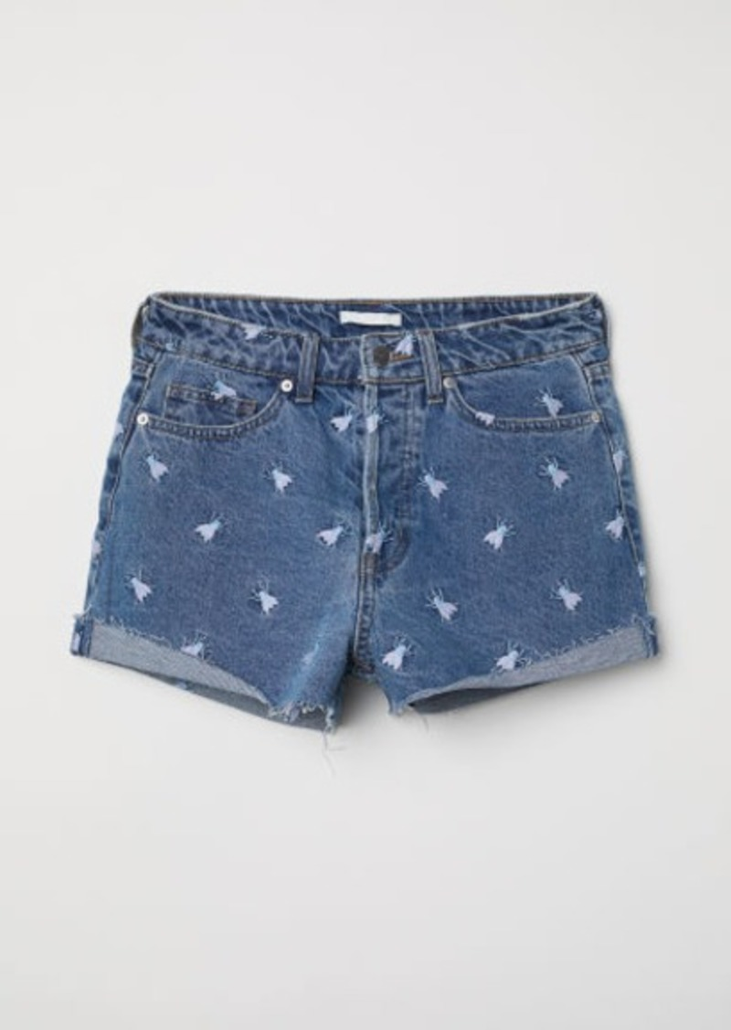 H&M H & M - Embroidered Denim Shorts - Blue