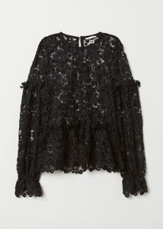 H&M H & M - Embroidered Lace Blouse - Black