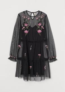 H&M H & M - Embroidered Mesh Dress - Black