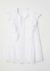 H&M H & M - Embroidered Ruffled Blouse - White - Women