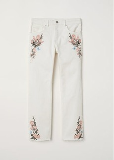 H&M H & M - Embroidered Slim-fit Pants - White