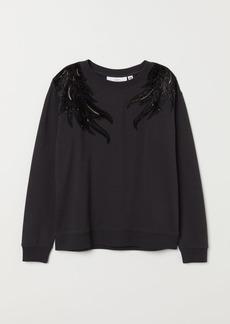 H&M H & M - Embroidered Sweatshirt - Gray
