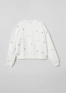 H&M H & M - Embroidered Sweatshirt - White