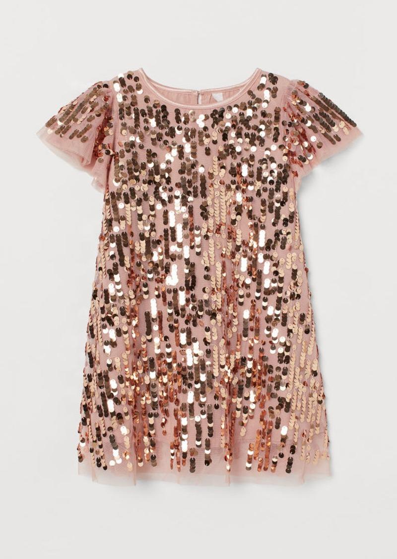 H&M H & M - Empire-line Sequined Dress - Orange