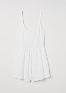 H&M H & M - Eyelet Embroidered Jumpsuit - White