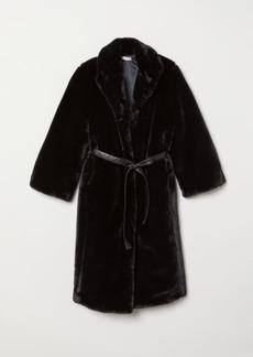 H&M H & M - Faux Fur Coat - Black