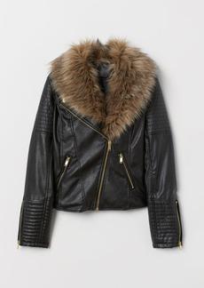 H&M H & M - Faux Fur-collar Biker Jacket - Black