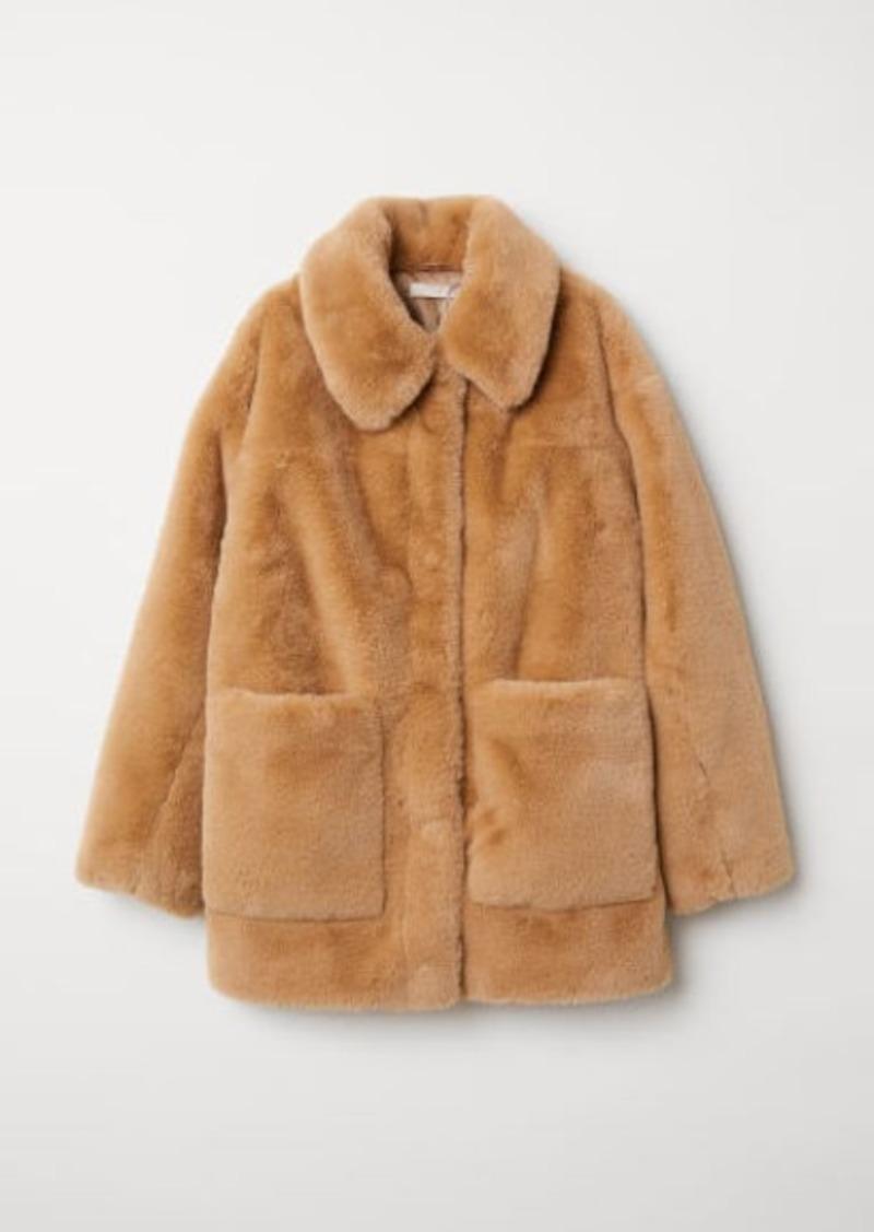 H&M H & M - Faux Fur Jacket - Beige
