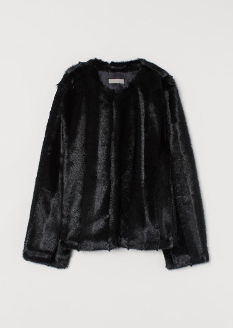 H&M H & M - Faux Fur Jacket - Black