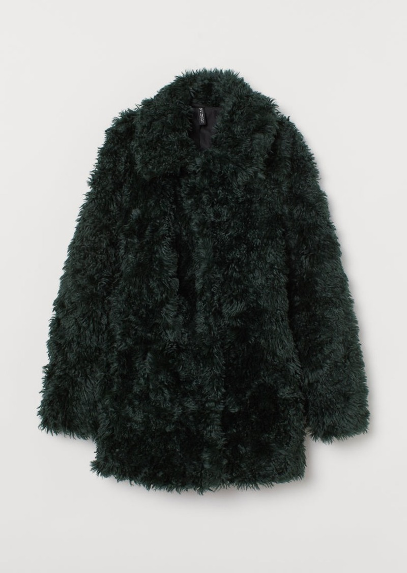 H&M H & M - Faux Fur Jacket - Green