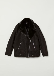 H&M H & M - Faux Fur-lined Biker Jacket - Black