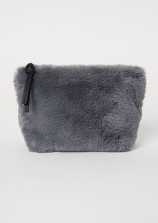 H&M H & M - Faux Fur Makeup Bag - Gray