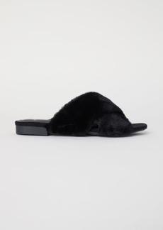 H&M H & M - Faux Fur Sandals - Black