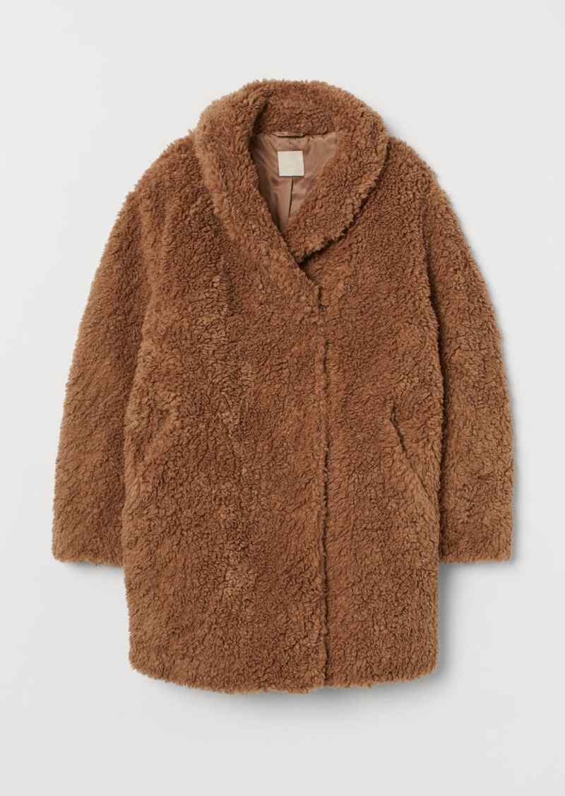 H&M H & M - Faux Fur Teddy Bear Coat - Beige